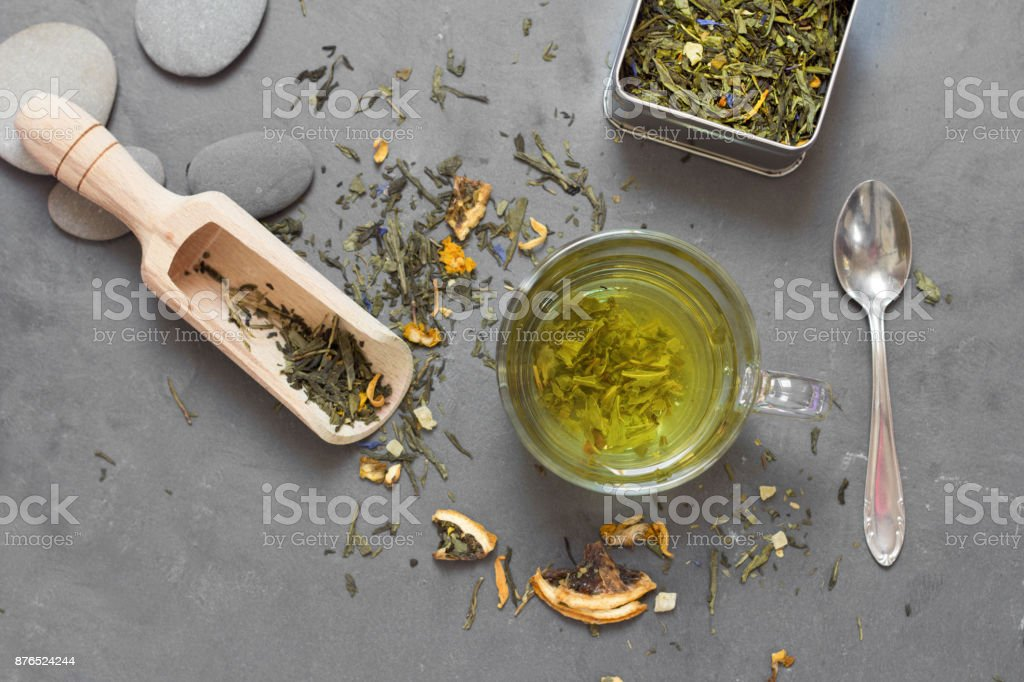 tea on table composition stock photo