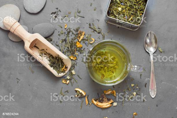 Photo of tea on table composition