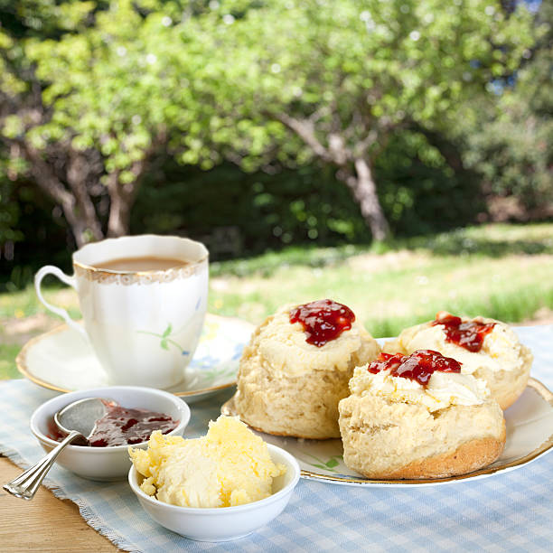 tea on the terrace - scone bildbanksfoton och bilder