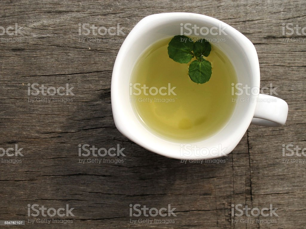 Tea on the wood stock photo