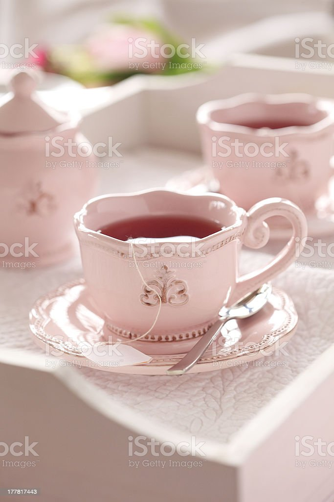 Tea on wooden tray royalty-free stock photo