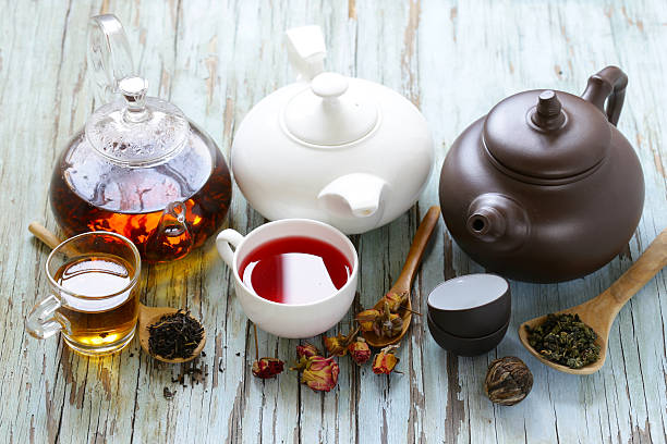 Tea Party Still Life assortment tea Tea Party Still Life assortment tea, black, green, fruit tea crop stock pictures, royalty-free photos & images
