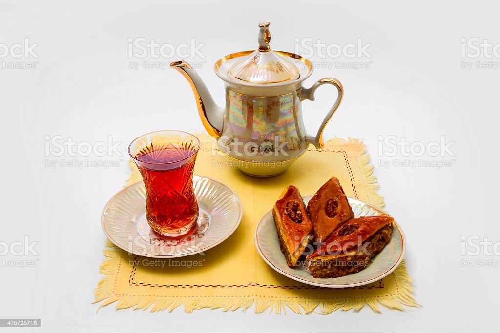 Чай с Пахлава стоковое фото