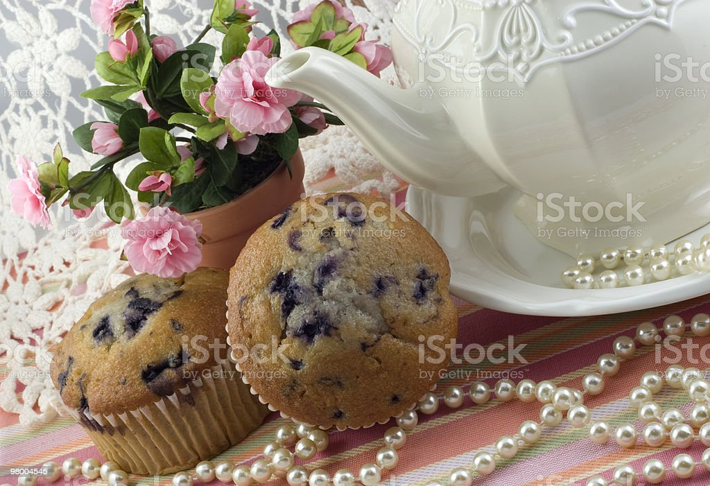 Tea Party with Blueberry Muffins royalty free stockfoto