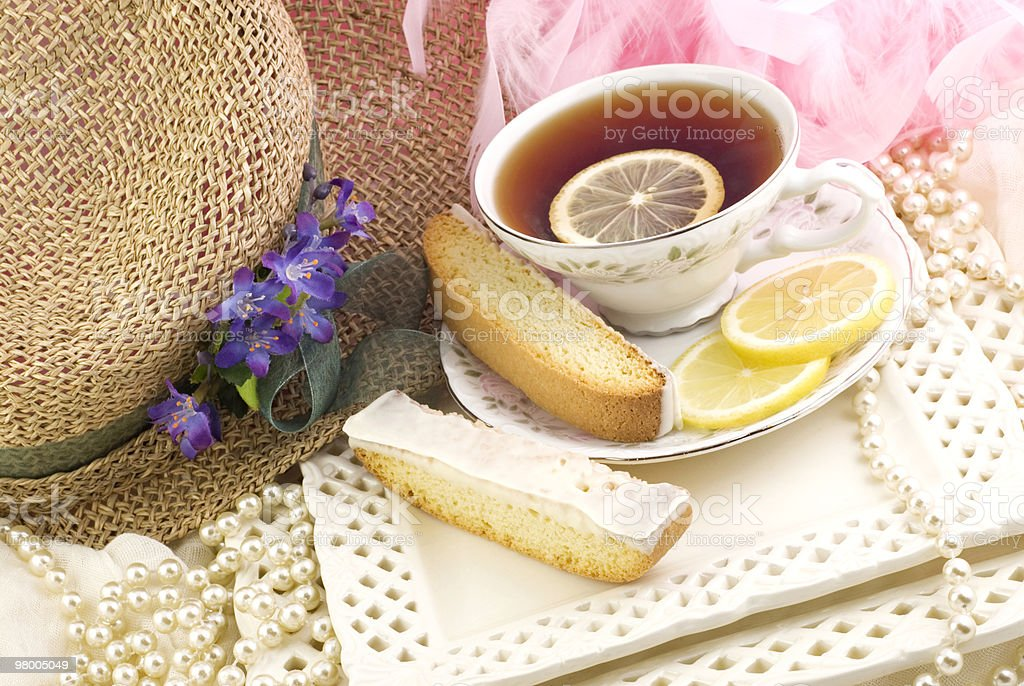Tea Party with Lemon Biscotti royalty free stockfoto