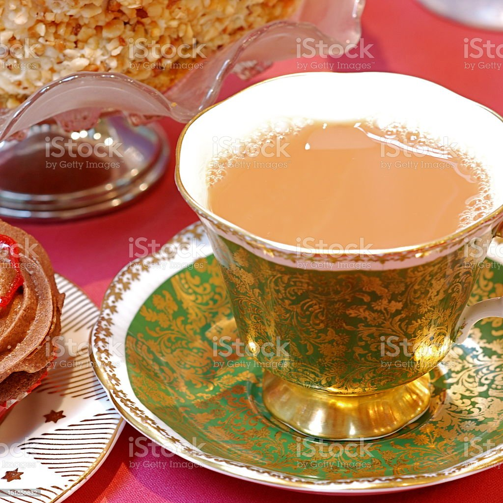 tea tea and home baking from favourite tearoom Cake Stock Photo