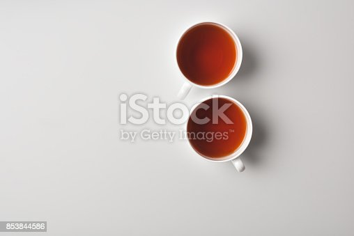 top view of cups with delicious tea