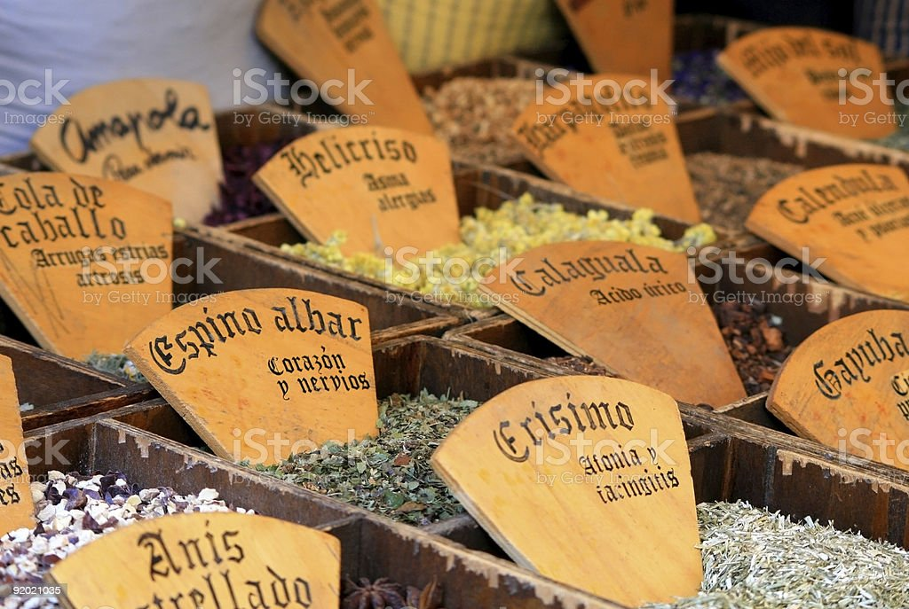 Tea plants at market in Besalu - Girona (Spain) royalty-free stock photo
