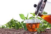 istock Tea pot, tea cup and herbs 480067947