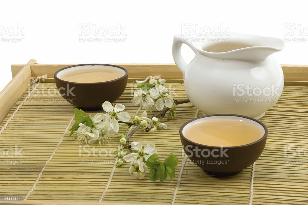 tea serving in ceramic cups and teapot royalty-free stock photo