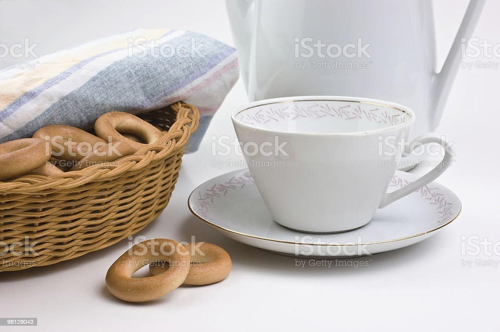tea set and bagels royalty-free stock photo