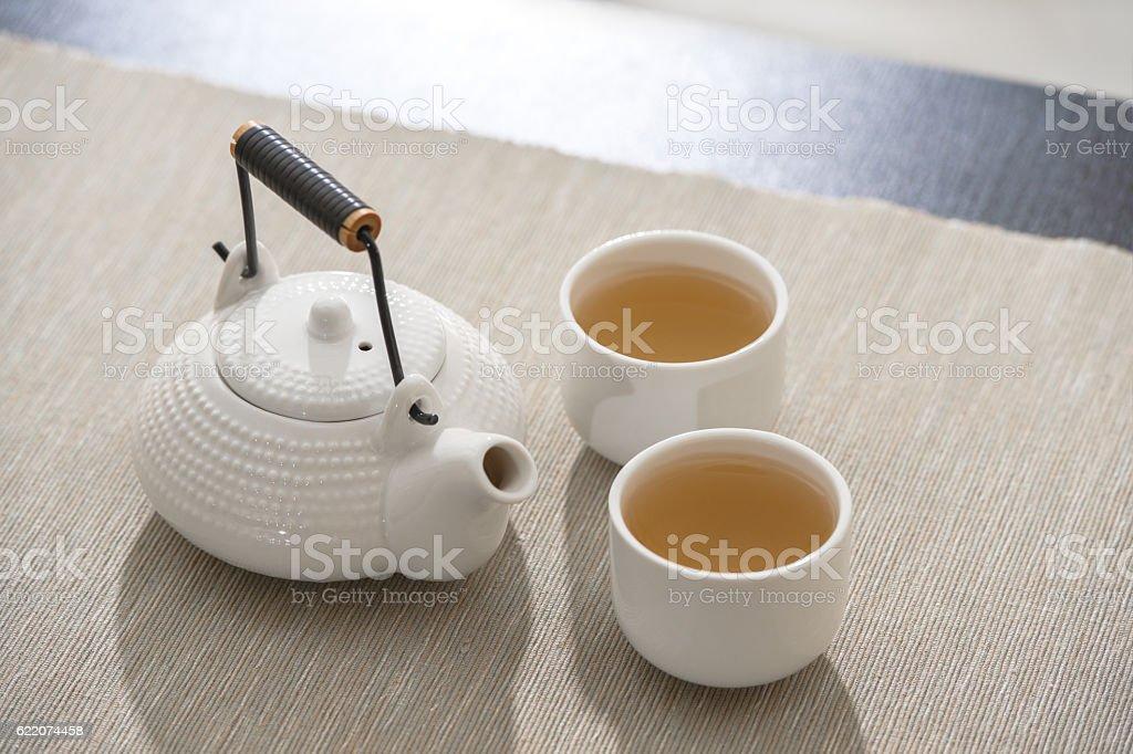 Tea set at comfortable lounge stock photo