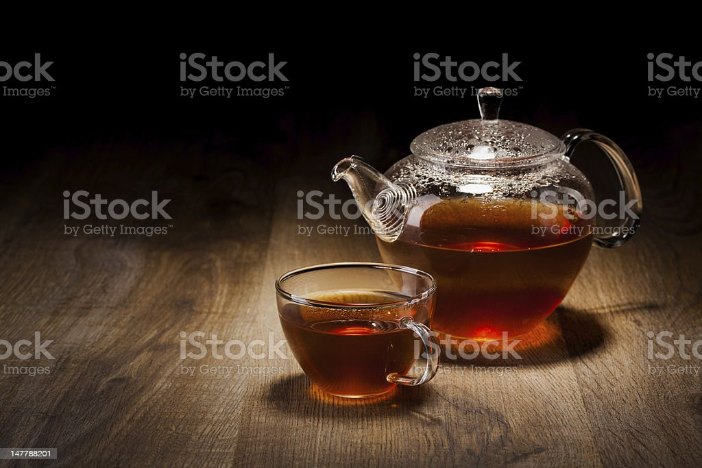Tea Set on a Wooden Table stock photo