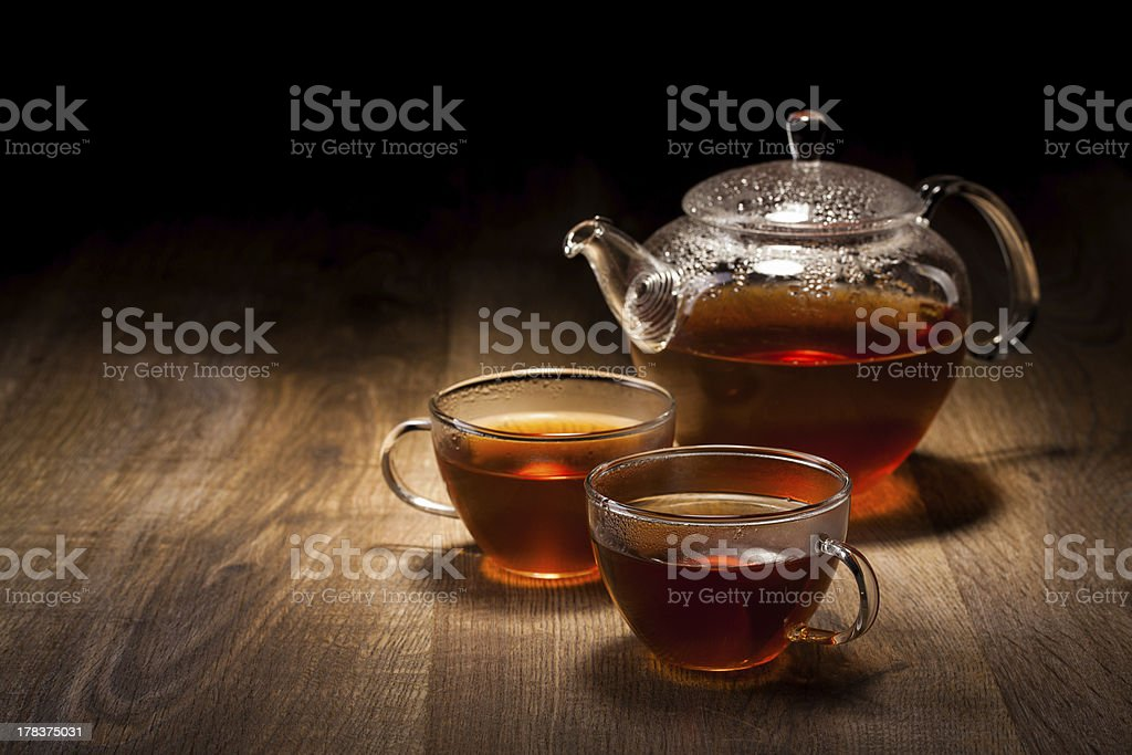 Tea Set on a Wooden Table royalty-free stock photo