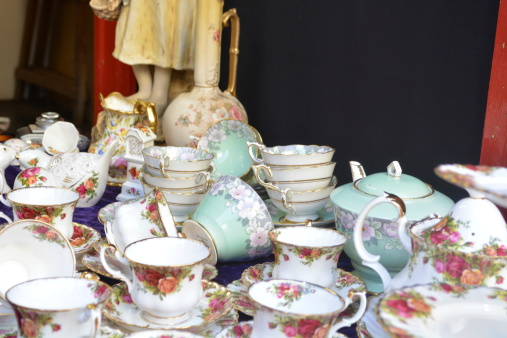 tea set on market stall