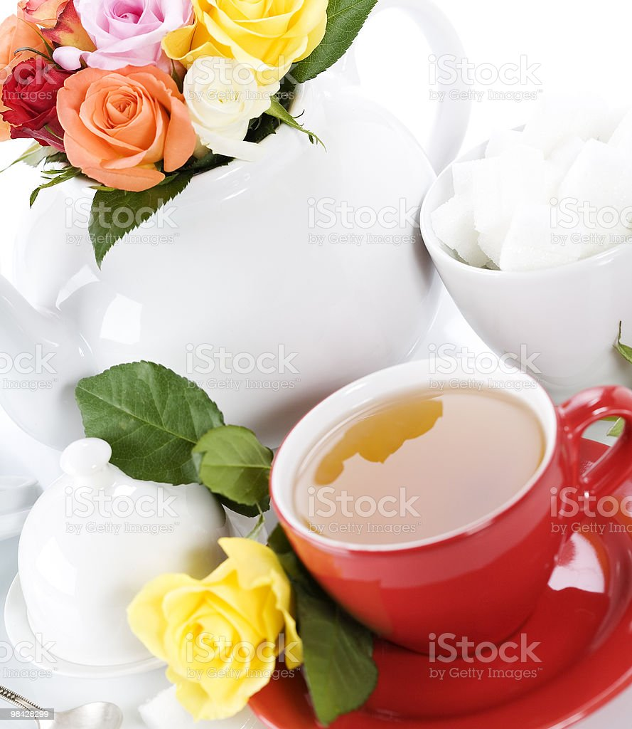 tea set with roses royalty-free stock photo
