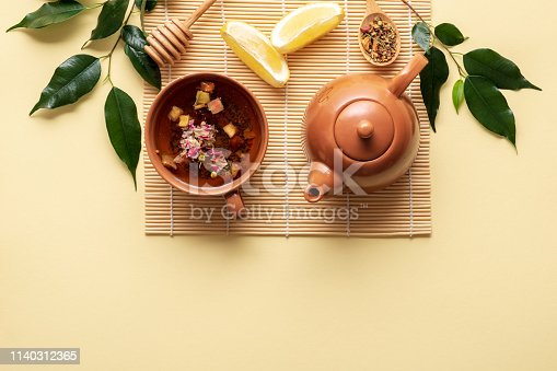 Tea setting with teacup, teapot, lemon, spoon of dried tea and green branch with leaves on bamboo mat on yellow background. Top view, flat lay composition.