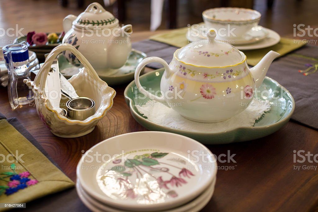 Tea table with many utensil, selective focus stock photo