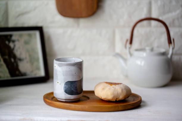 tea, teapot and homemade pita bread
