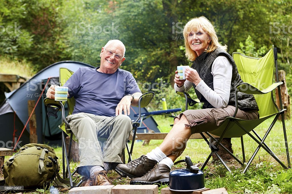 Tea time at camp royalty-free stock photo