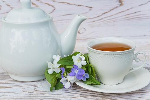 Tea time concept in retro style.