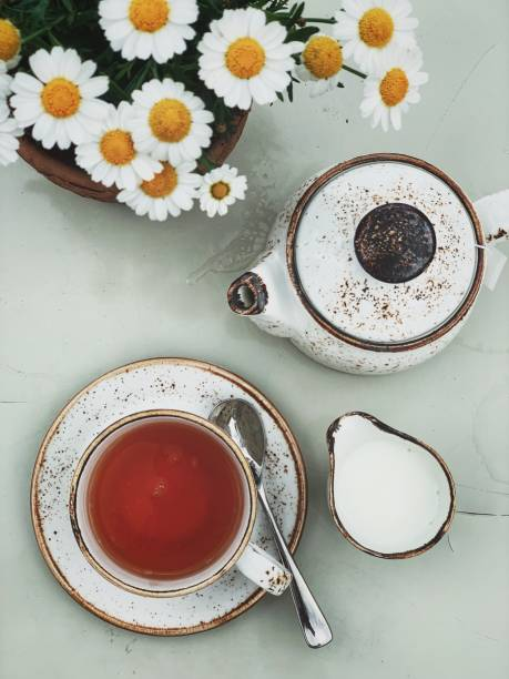 teezeit. übernachtung auf tasse englischer frühstückstee, teekanne und milch - keramikteekannen stock-fotos und bilder
