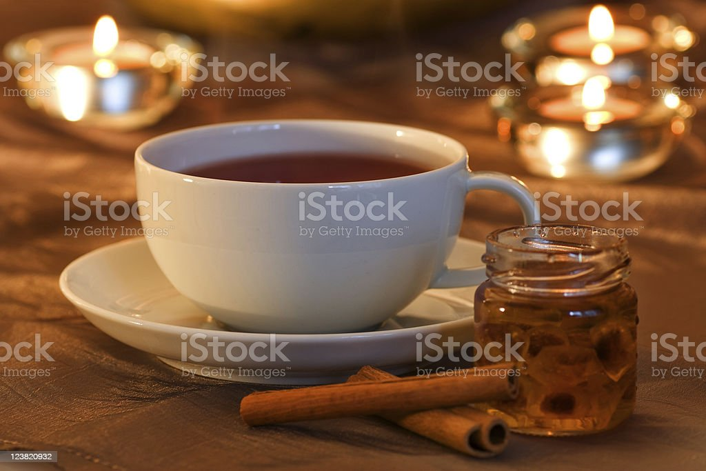 Tea time with cinnamon royalty-free stock photo