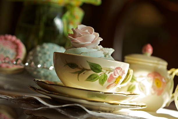 Tea Time with Old China stock photo