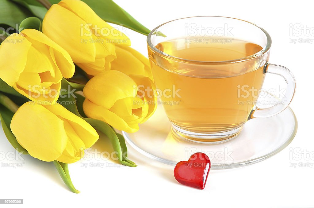 Tea, tulips and red heart royalty-free stock photo