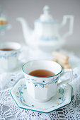 istock Tea vintage cups in white and blue colour 1311089090