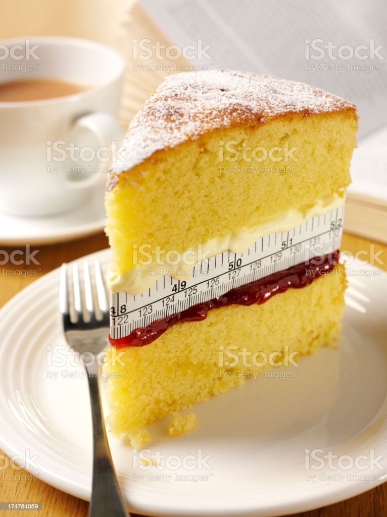 Tea with a Sponge Cake Measuring the Inches stock photo