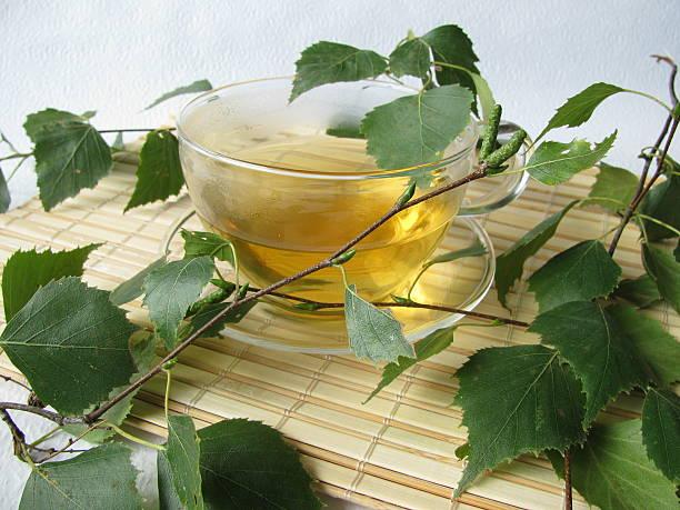 Tea with birch leaves - Birkenblättertee stock photo