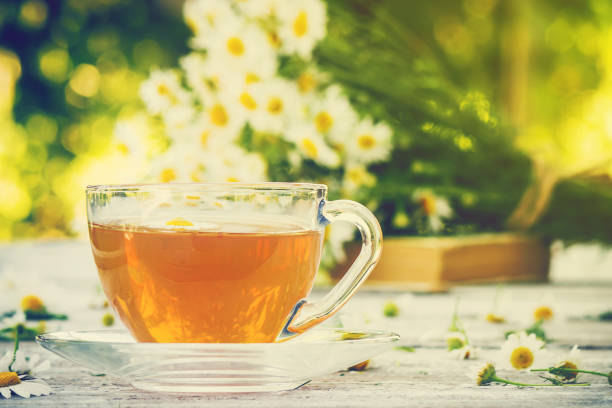 Tea with chamomile. Selective focus. food and drink. stock photo