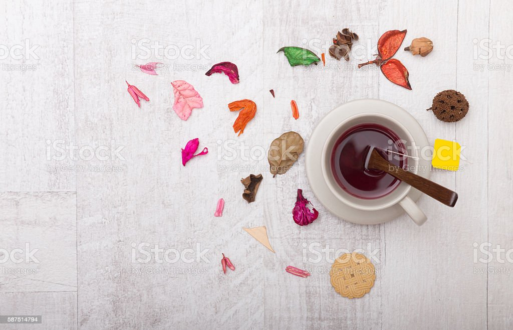 Tea with dried flowers stock photo