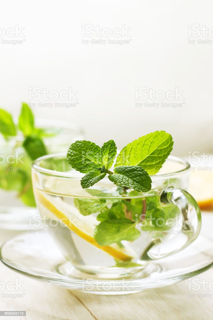 tea with fresh mint stock photo