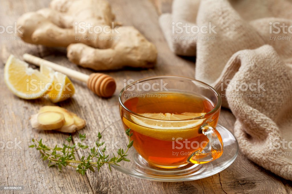 tea with ginger, lemon stock photo