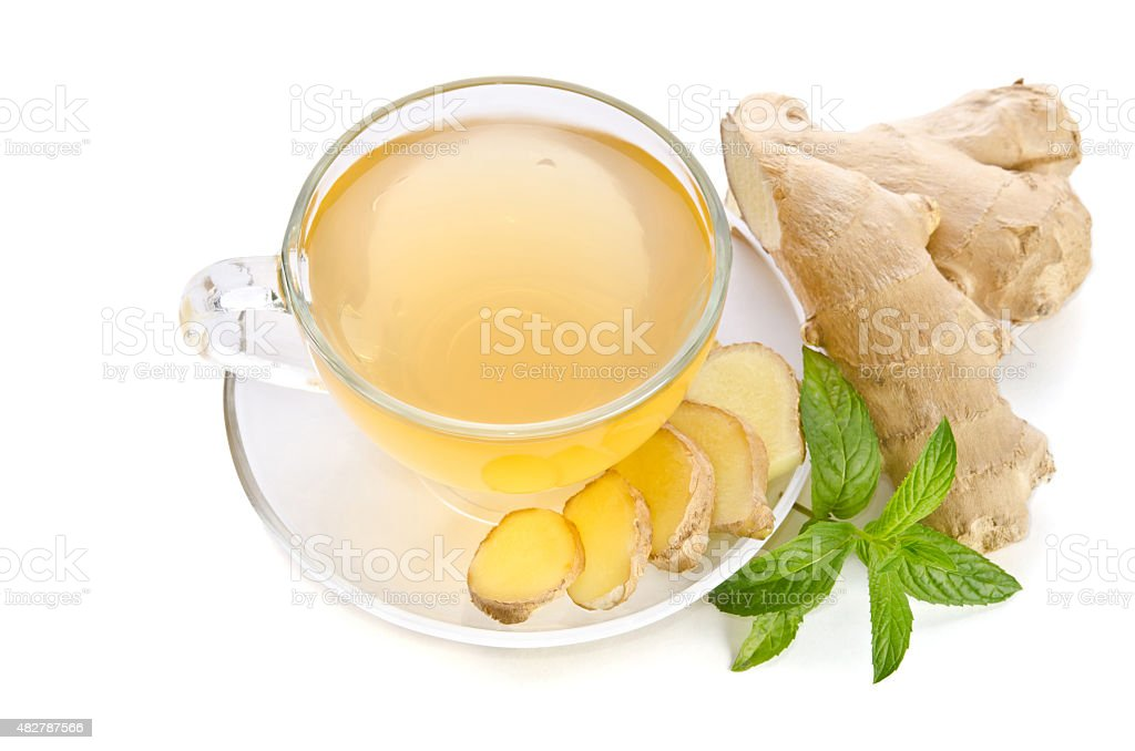 Tea with Ginger Root isolated on white background stock photo