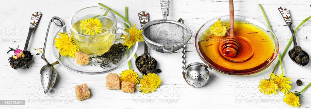 Tea with honey dandelion royalty-free stock photo