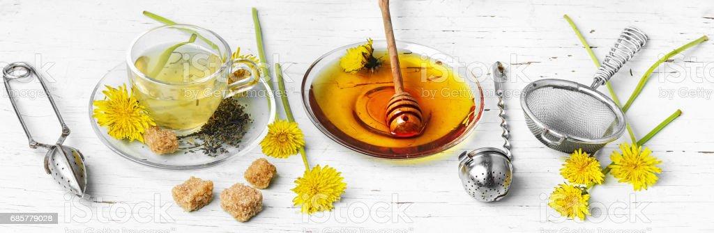 Tea with honey dandelion royalty-free stock photo