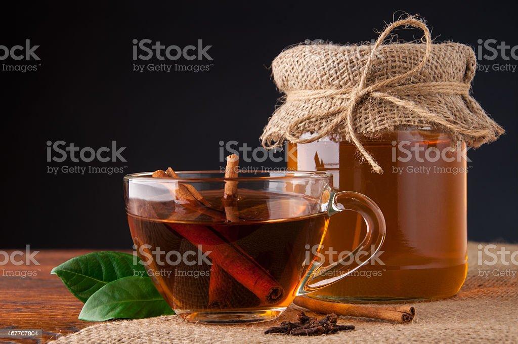 Tea with honey stock photo
