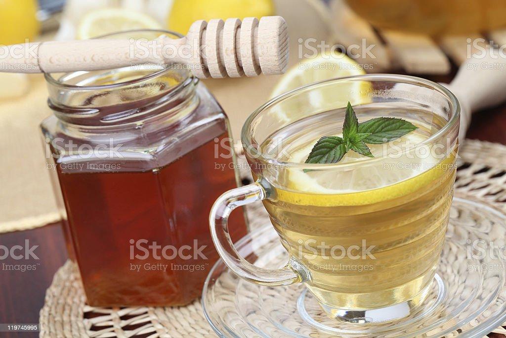 Tea with lemon and honey royalty-free stock photo