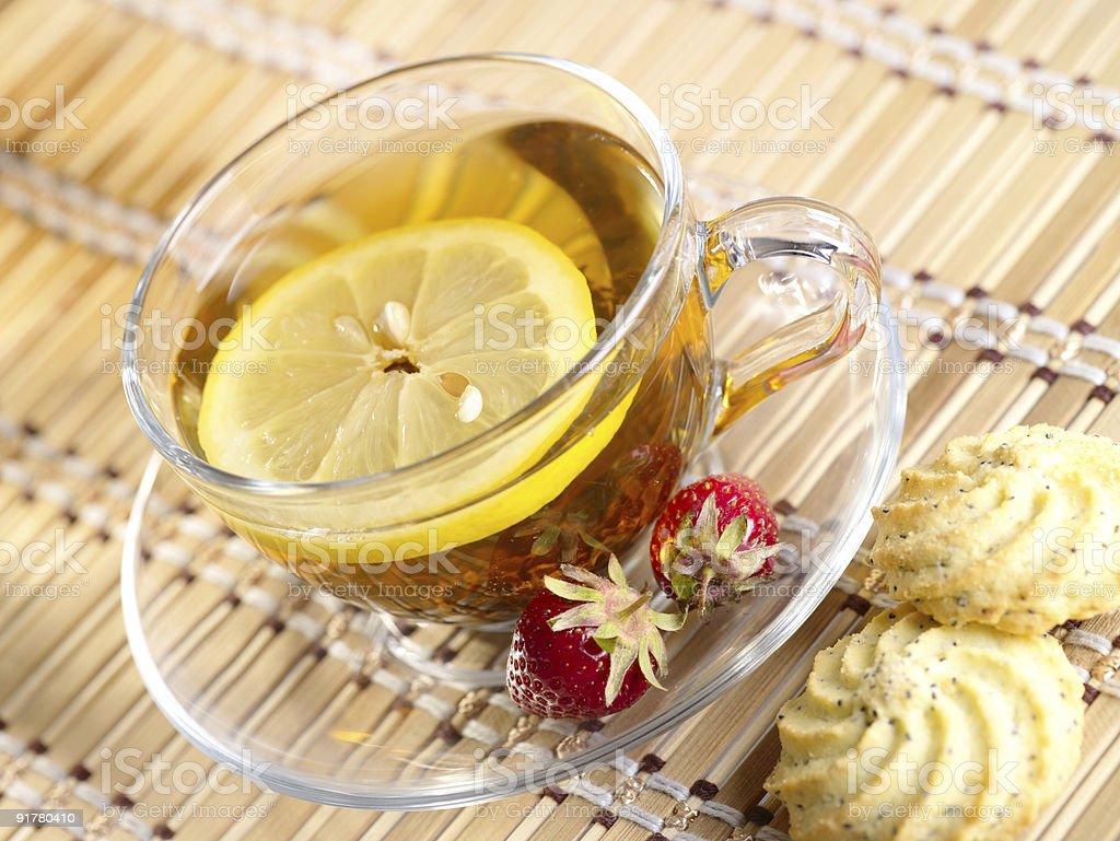 Tea with lemon fruit royalty-free stock photo