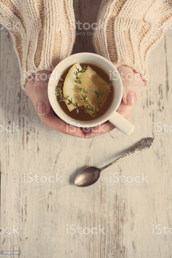 Tea with lemon stock photo