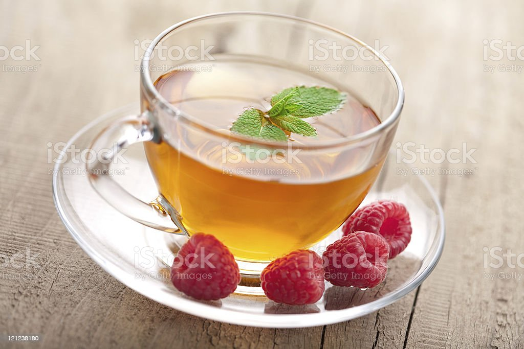 tea with mint and berry royalty-free stock photo