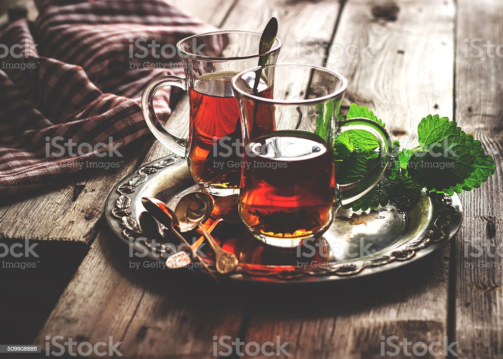 tea with mint in the Arab style. stock photo
