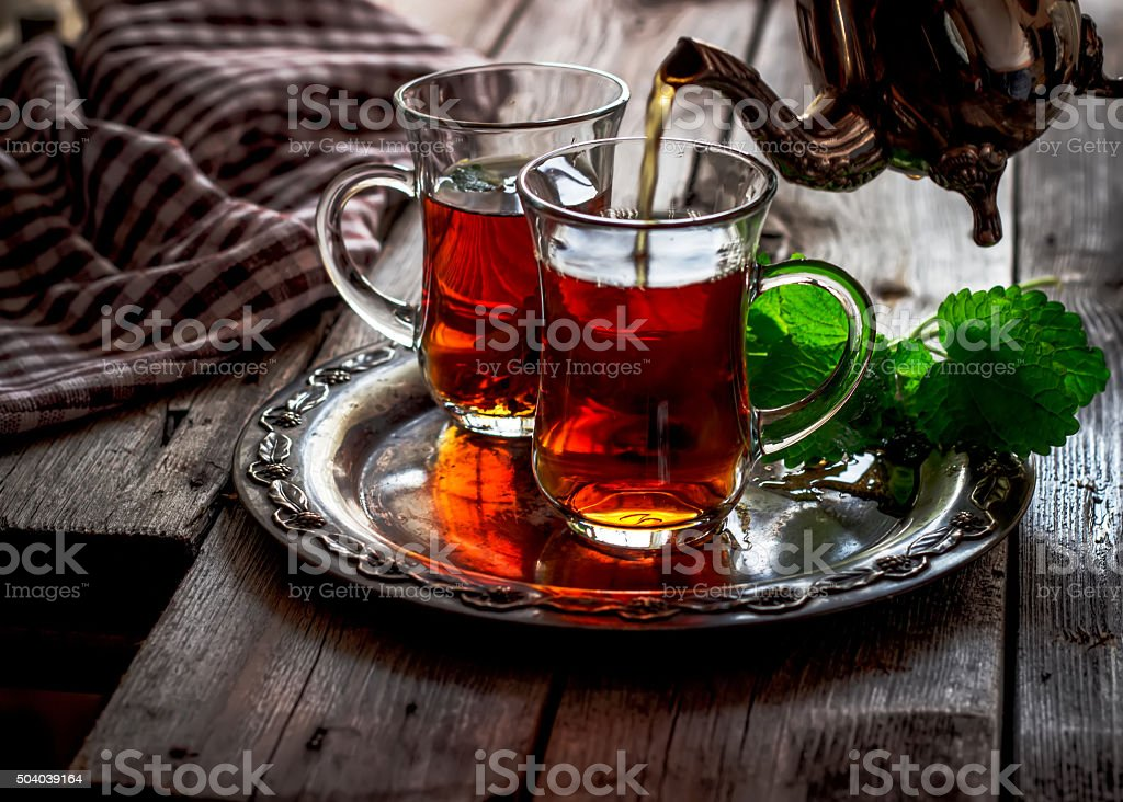 Tea with mint stock photo