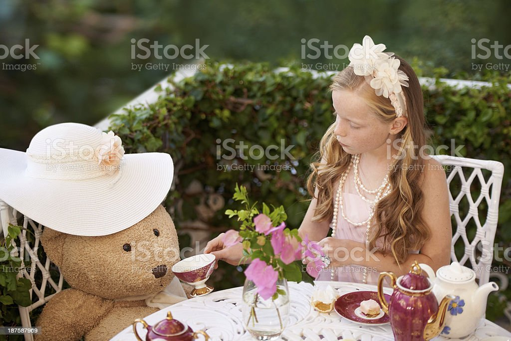 Tea with teddy stock photo