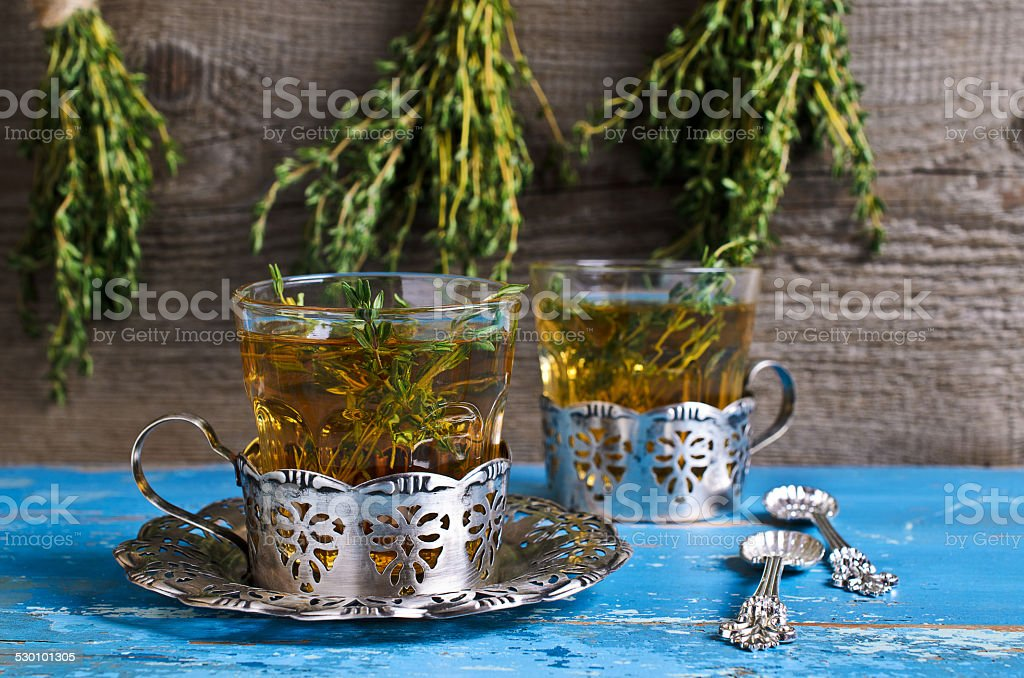 Tea with thyme stock photo
