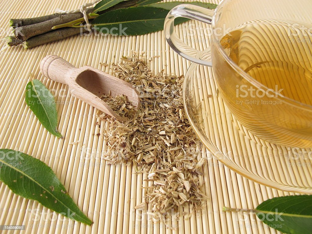 Tea with willow bark stock photo