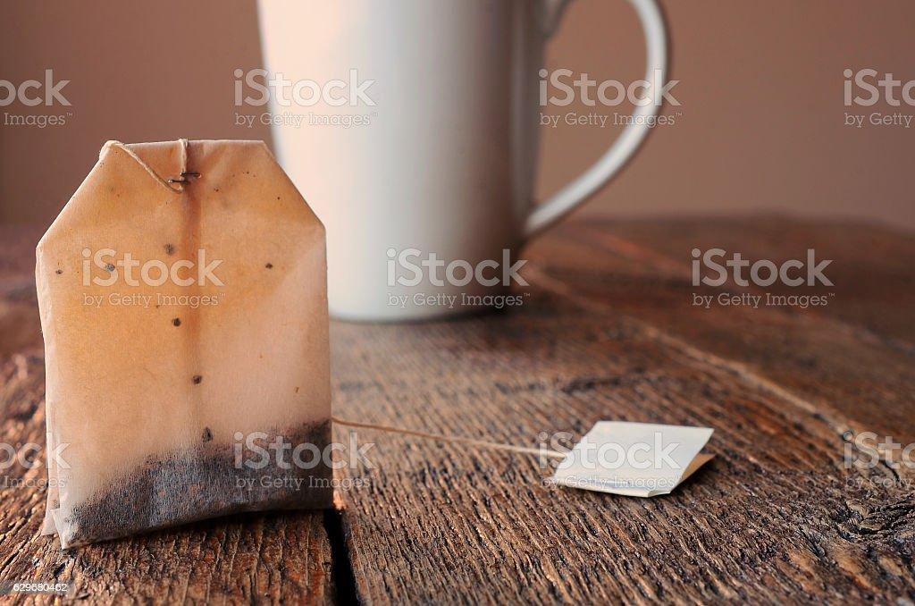 Teabag and Teacup stock photo